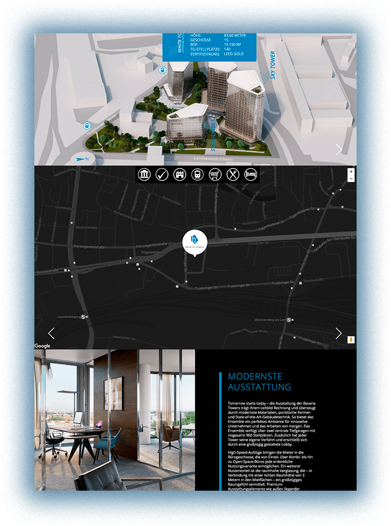 Typo3 Onepager Website BavariaTowers njudev desktop