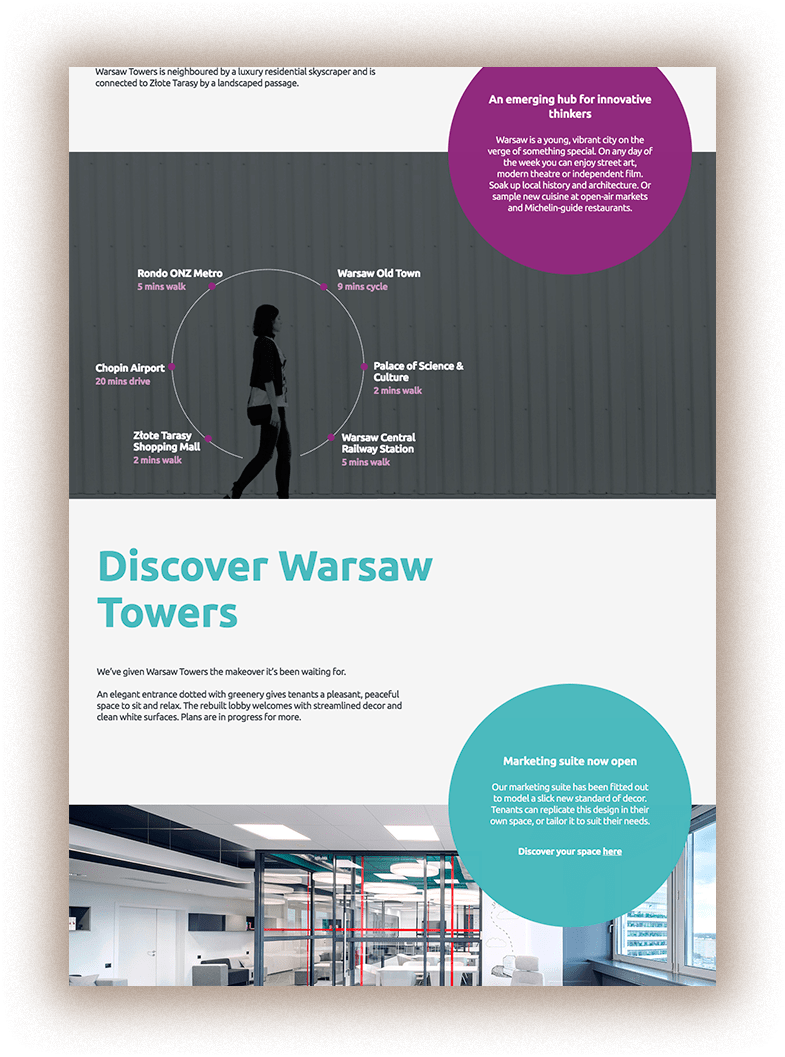 Typo3 Onepager Website Warsaw Towers njudev desktop